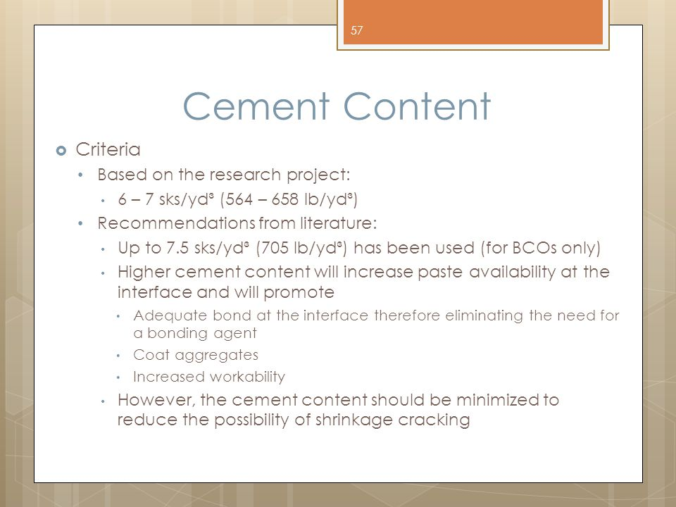 Cement Content Criteria Based on the research project: