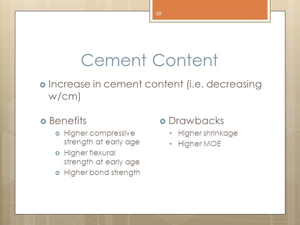 Cement Content Increase in cement content (i.e. decreasing w/cm)
