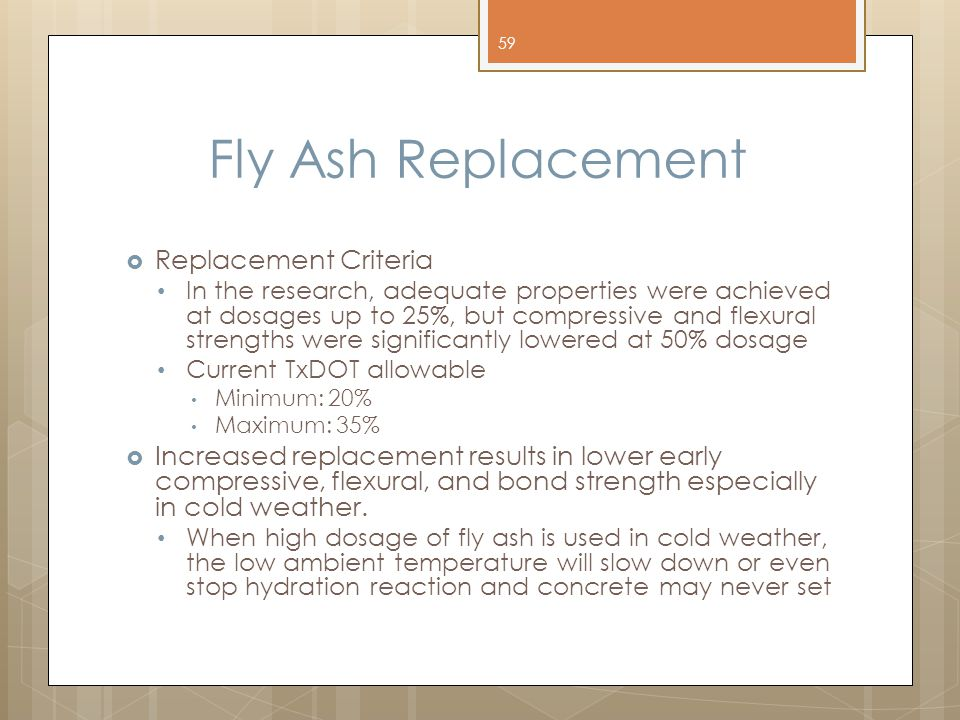Fly Ash Replacement Replacement Criteria