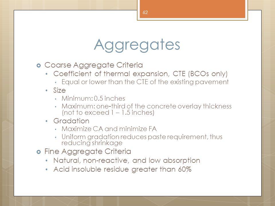 Aggregates Coarse Aggregate Criteria Fine Aggregate Criteria