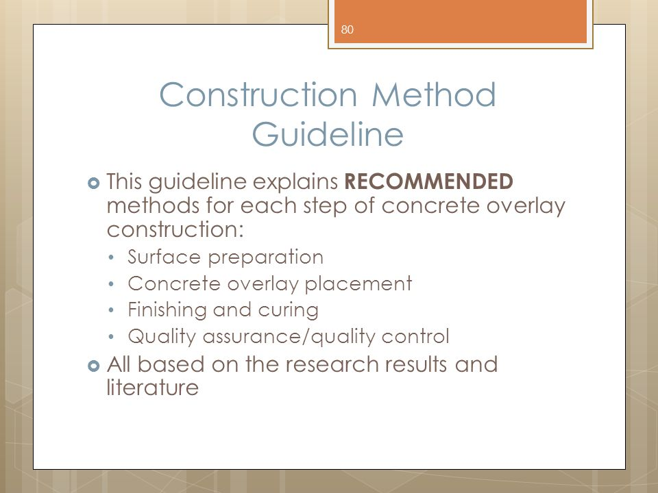 Construction Method Guideline