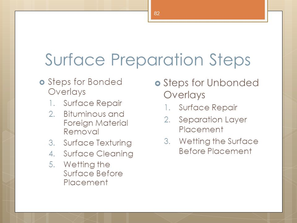 Surface Preparation Steps