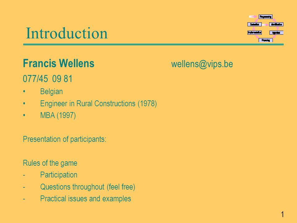 Introduction Francis Wellens wellens@vips.be 077/45 09 81 Belgian