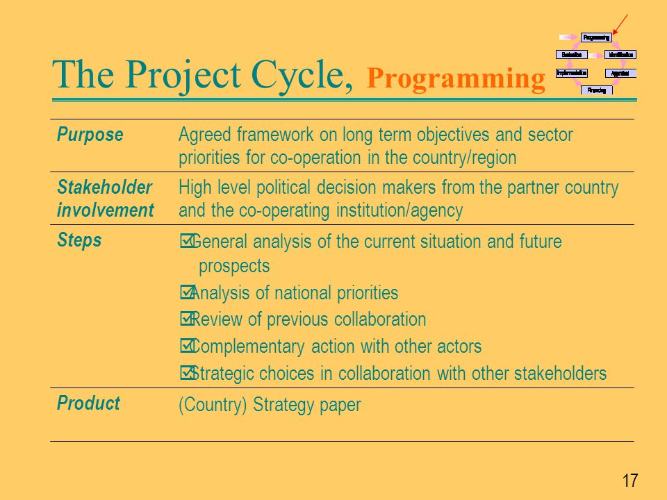 The Project Cycle, Programming