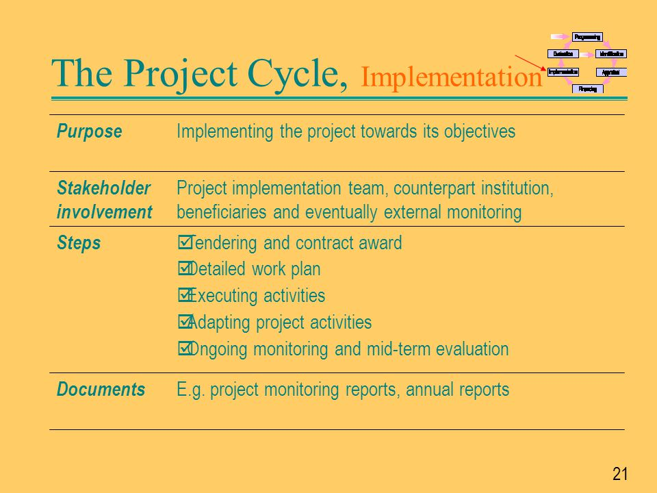 The Project Cycle, Implementation