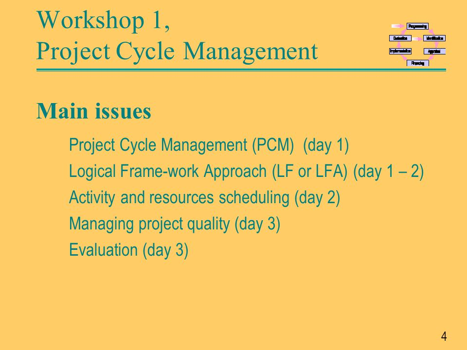 Workshop 1, Project Cycle Management Main issues