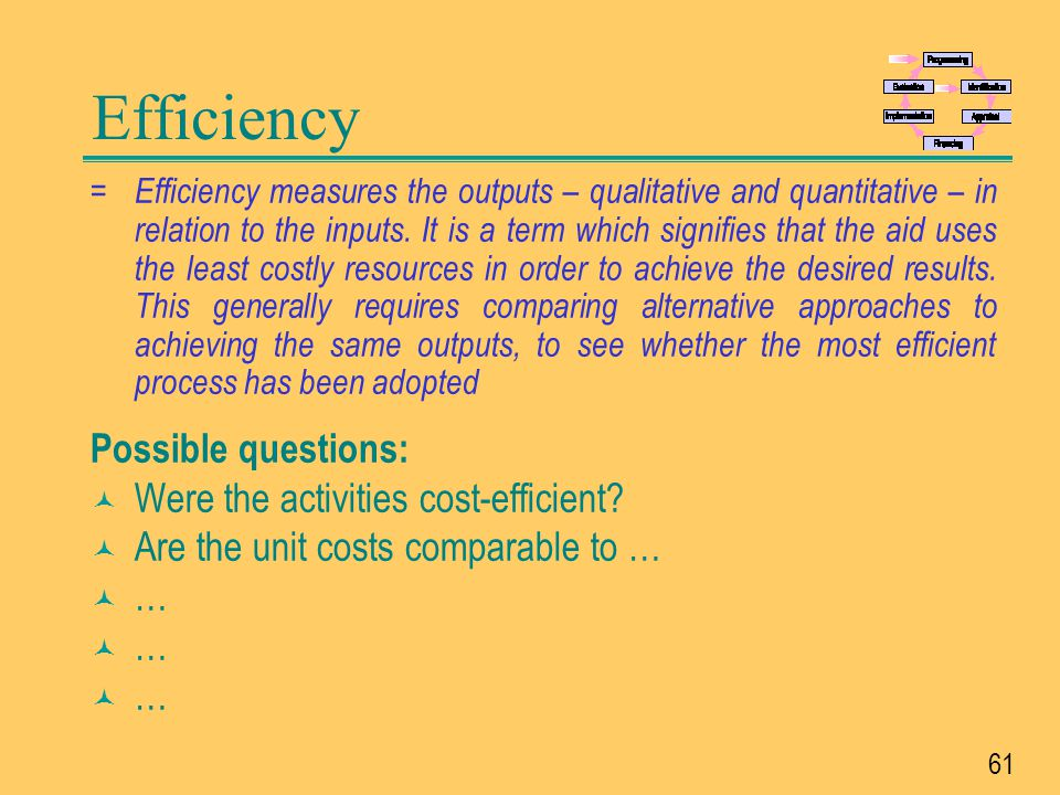 Efficiency Possible questions: Were the activities cost-efficient