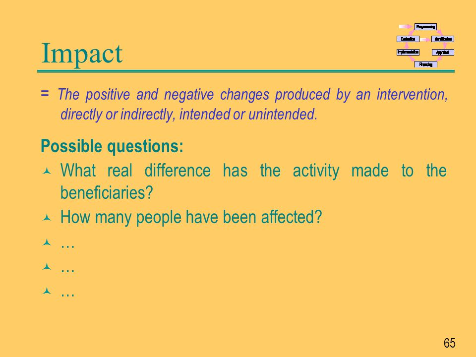 Impact = The positive and negative changes produced by an intervention, directly or indirectly, intended or unintended.