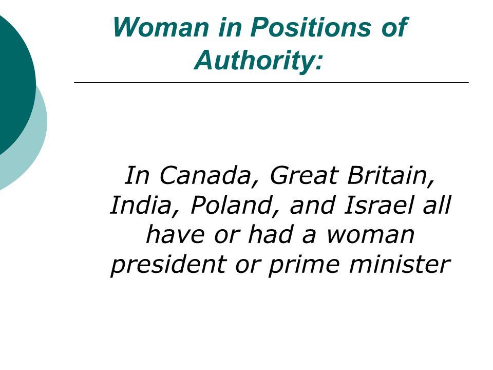 Woman in Positions of Authority: