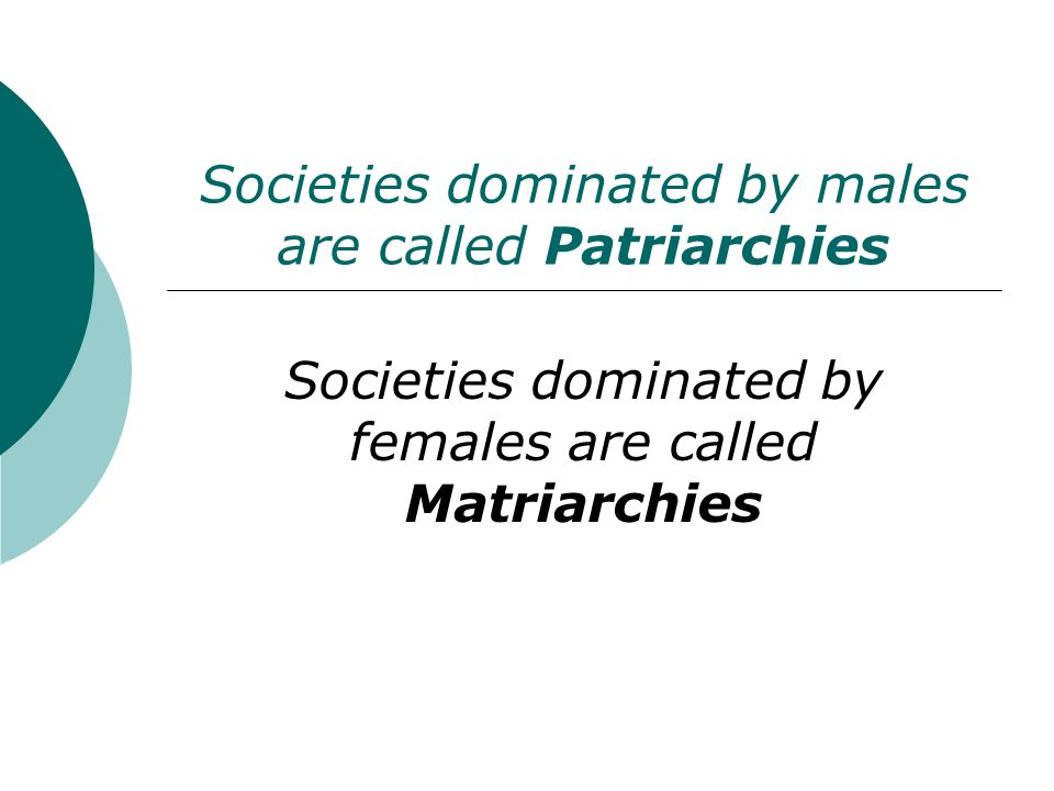 Societies dominated by males are called Patriarchies