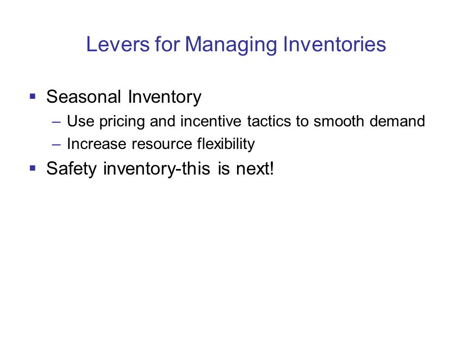 Levers for Managing Inventories