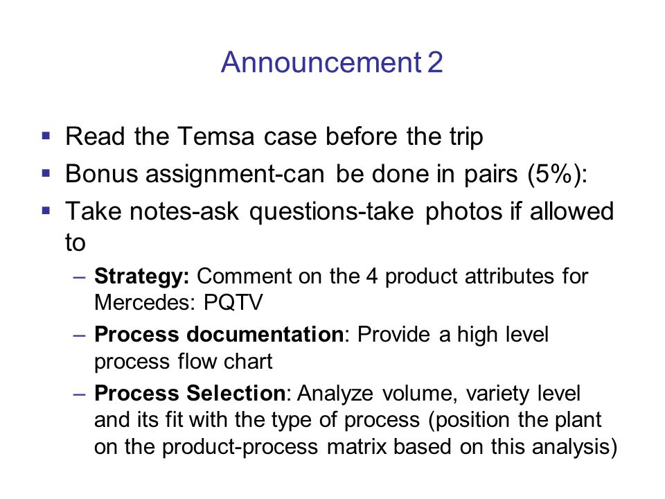 Announcement 2 Read the Temsa case before the trip