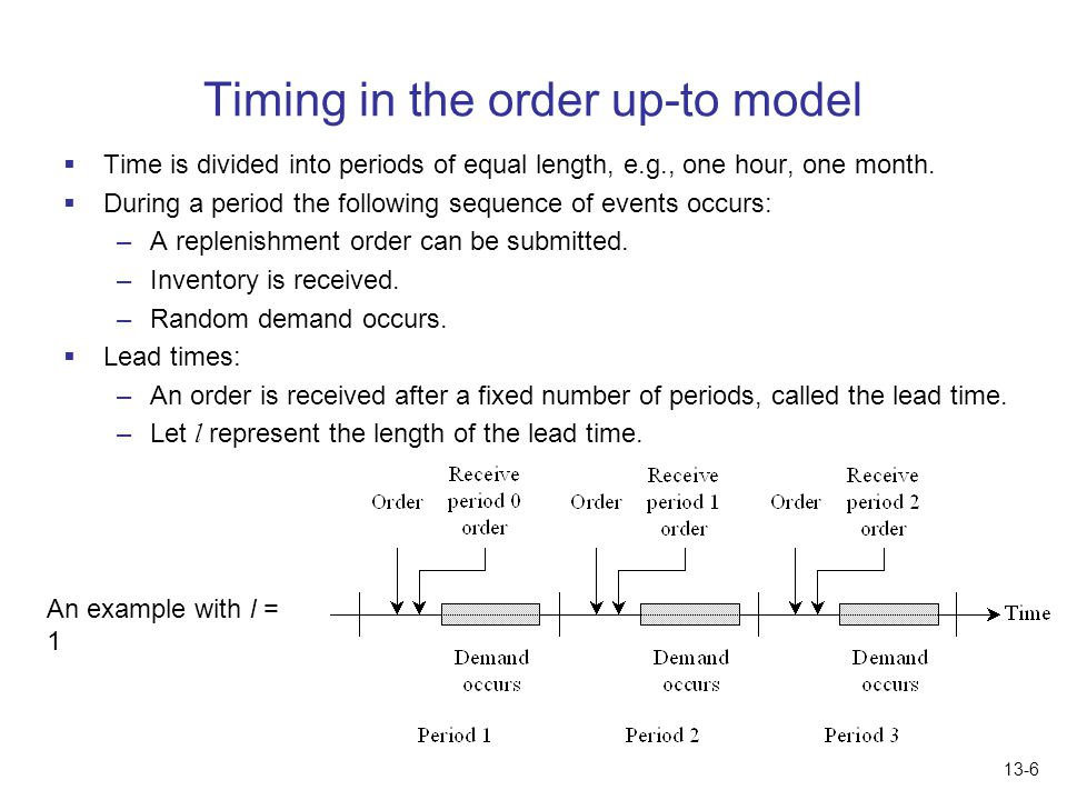 Timing in the order up-to model
