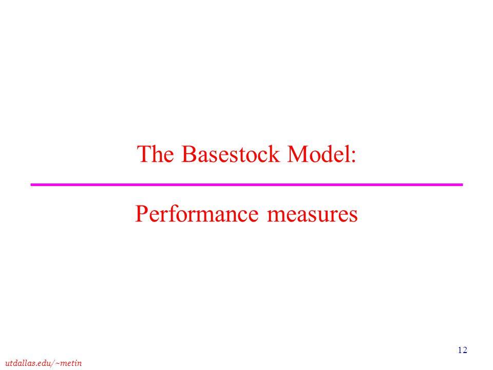 The Basestock Model: Performance measures