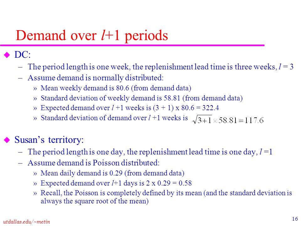 Demand over l+1 periods DC: Susan's territory: