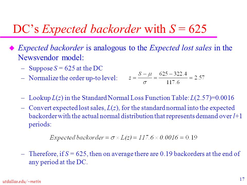 DC's Expected backorder with S = 625