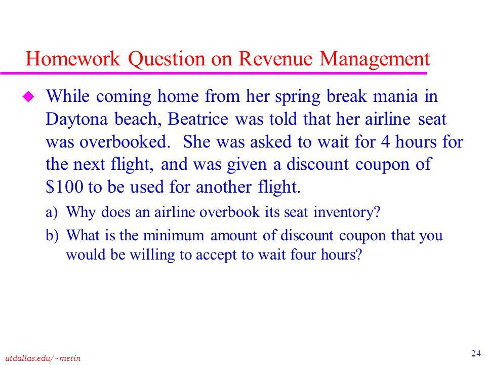 Homework Question on Revenue Management