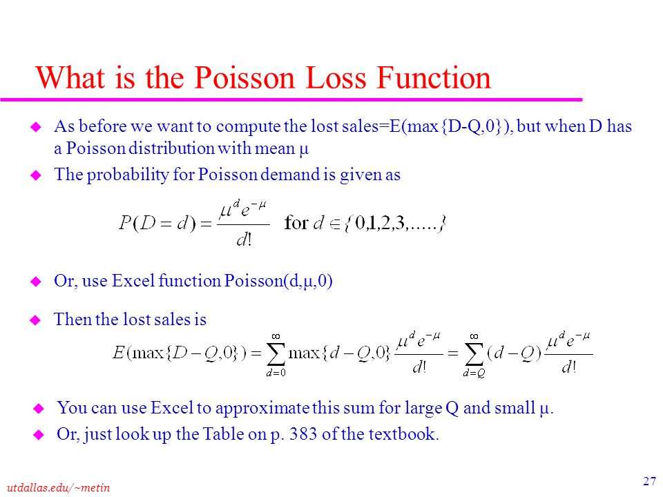 What is the Poisson Loss Function
