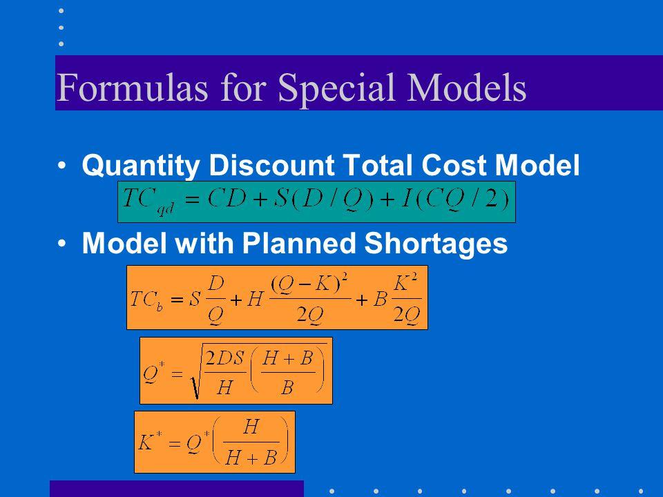 Formulas for Special Models