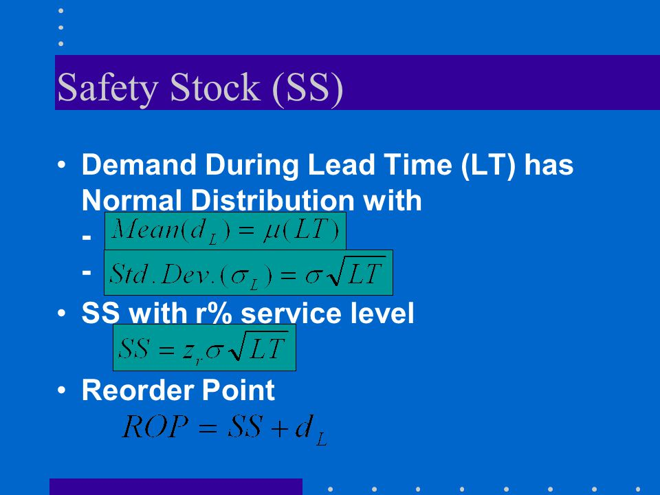 Safety Stock (SS) Demand During Lead Time (LT) has Normal Distribution with - - SS with r% service level.