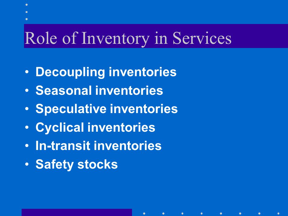 Role of Inventory in Services