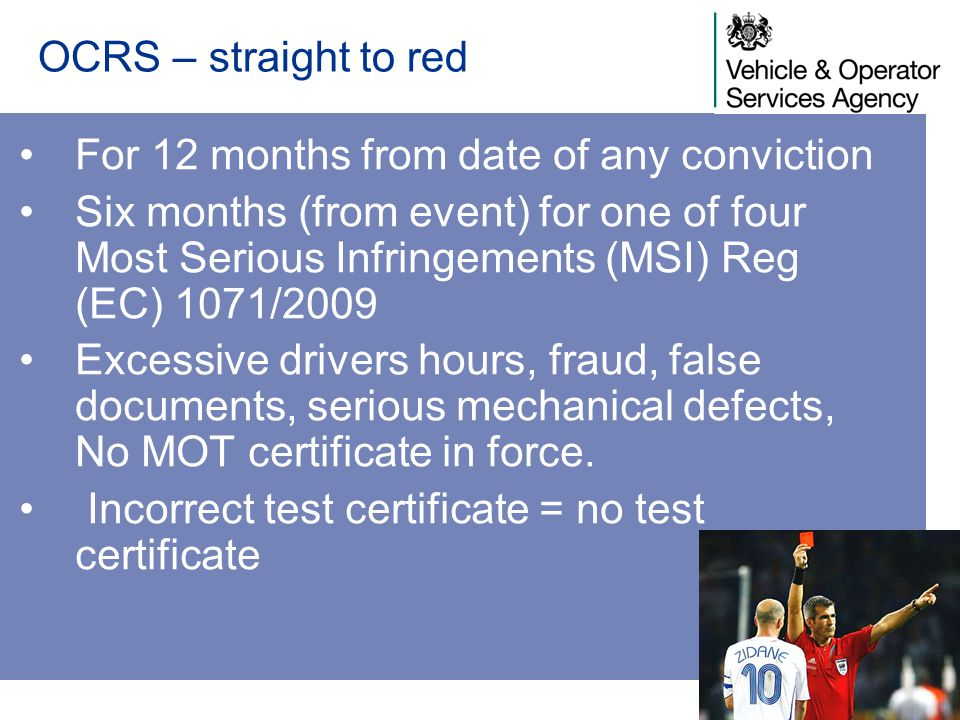 OCRS – straight to red For 12 months from date of any conviction.