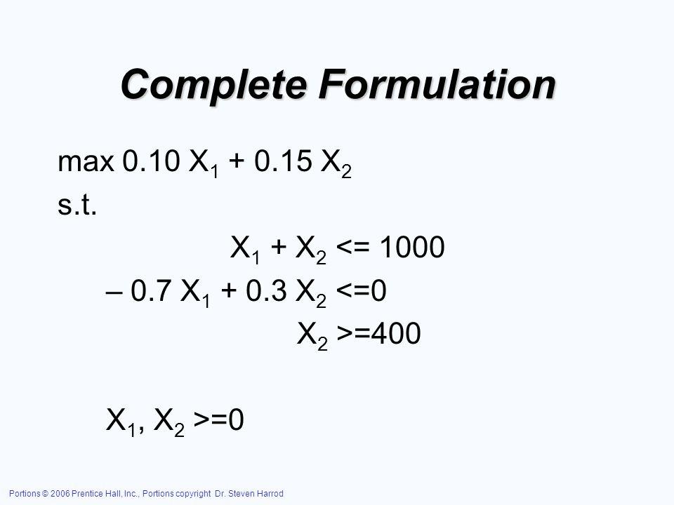Complete Formulation max 0.10 X1 + 0.15 X2 s.t. X1 + X2 <= 1000