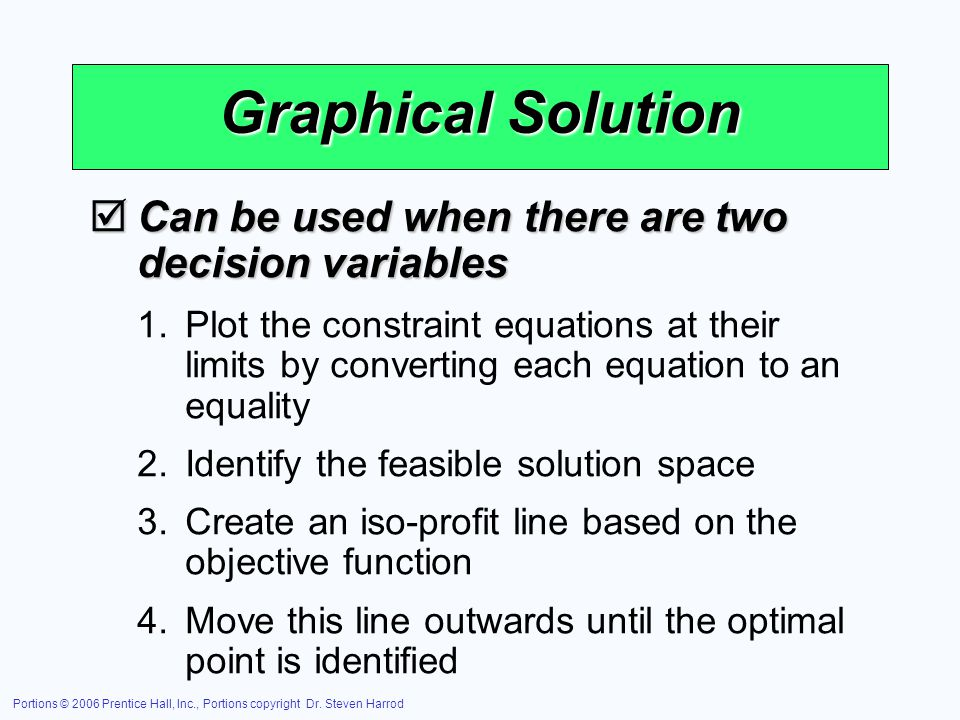 Graphical Solution Can be used when there are two decision variables