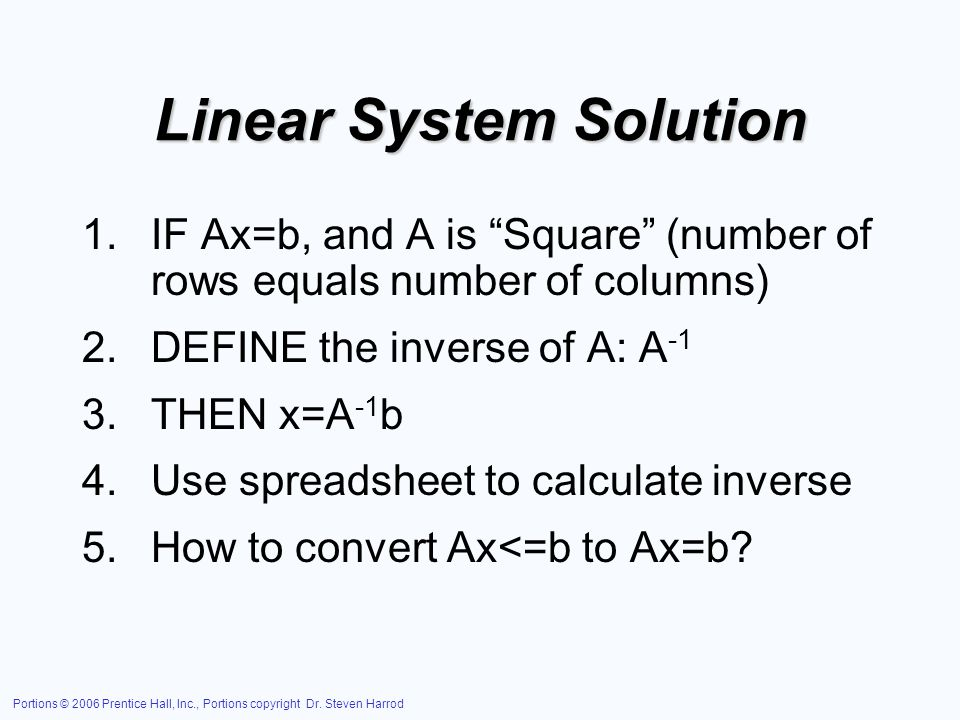 Linear System Solution