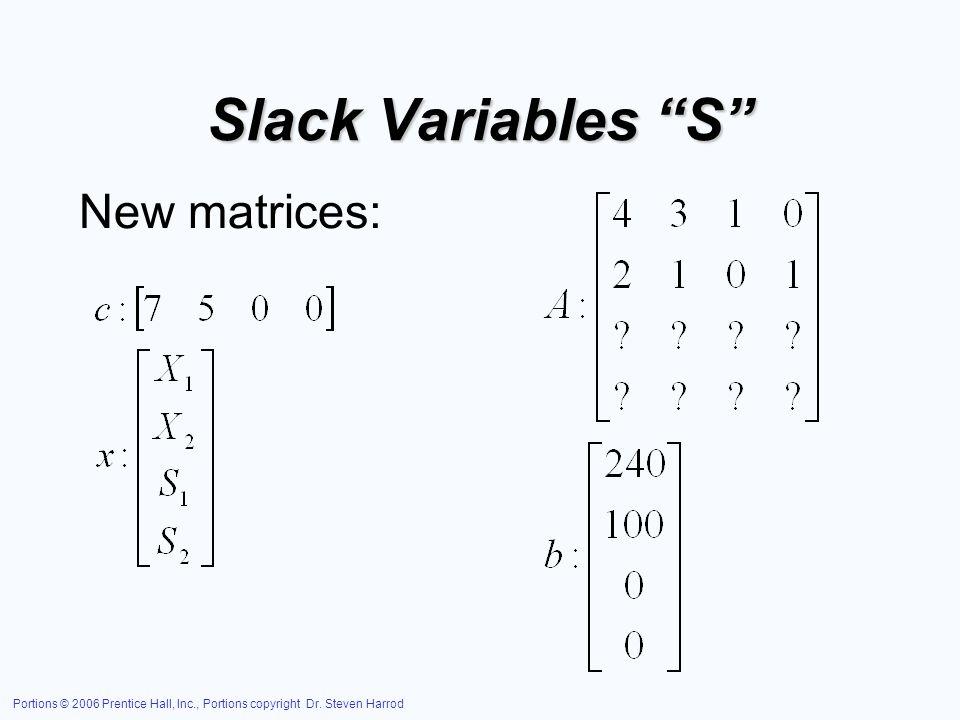 Slack Variables S New matrices: