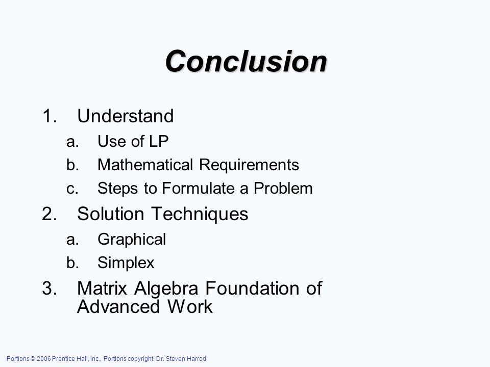 Conclusion Understand Solution Techniques