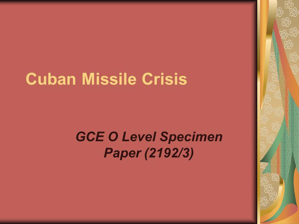 GCE O Level Specimen Paper (2192/3)