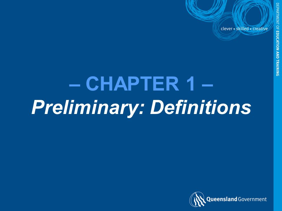 – CHAPTER 1 – Preliminary: Definitions