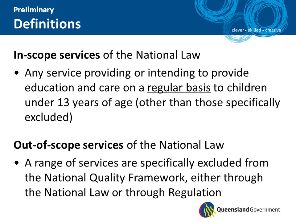 Definitions In-scope services of the National Law