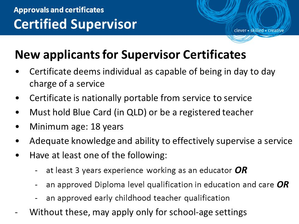 Certified Supervisor New applicants for Supervisor Certificates