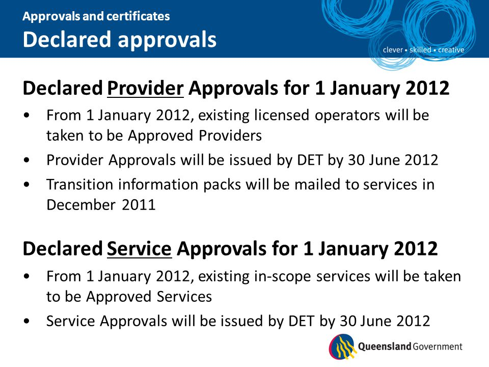 Declared approvals Declared Provider Approvals for 1 January 2012