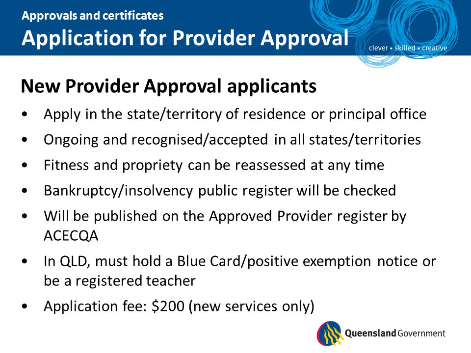 Application for Provider Approval
