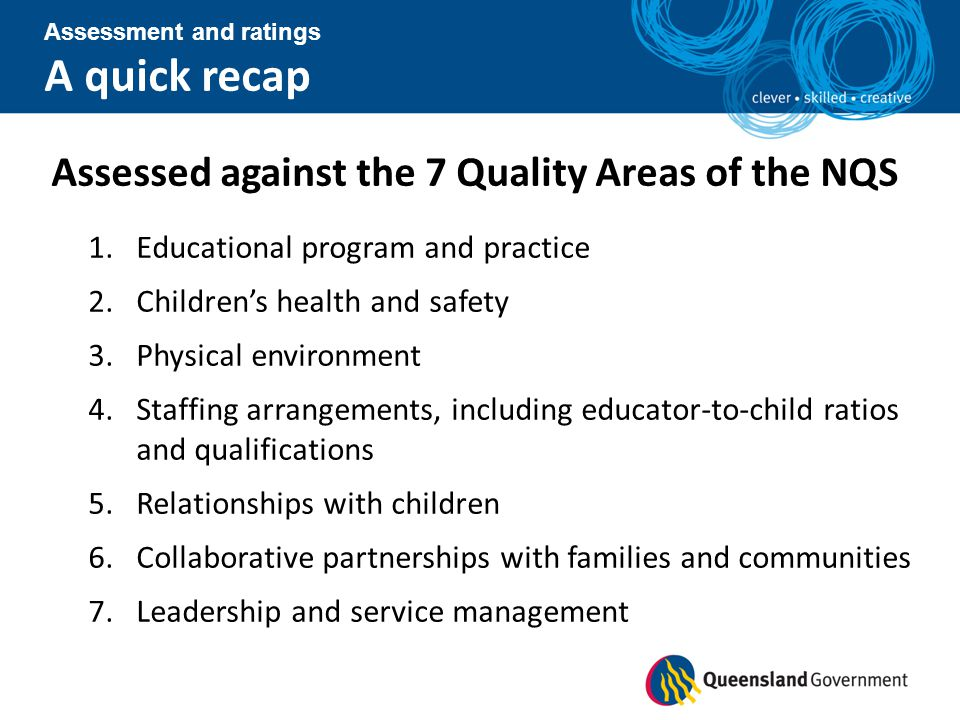 A quick recap Assessed against the 7 Quality Areas of the NQS