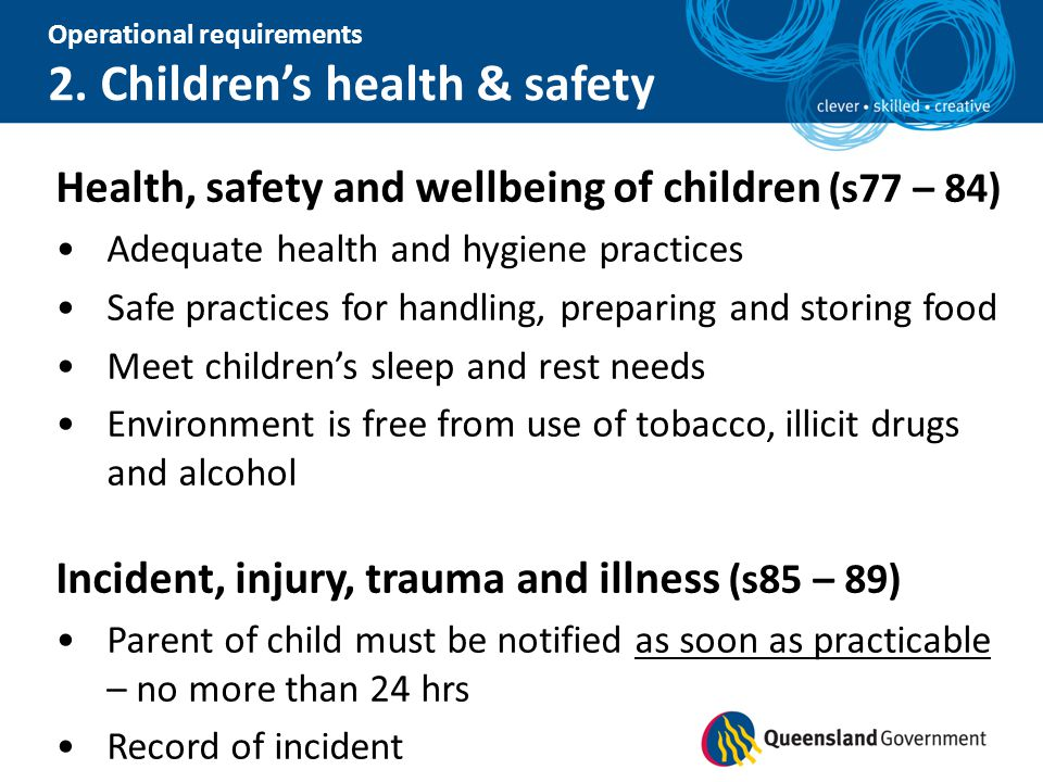 Health, safety and wellbeing of children (s77 – 84)