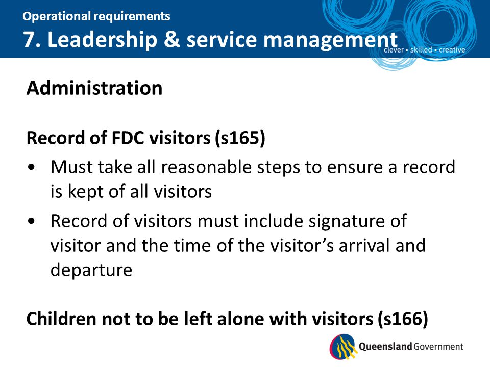 Administration Record of FDC visitors (s165)