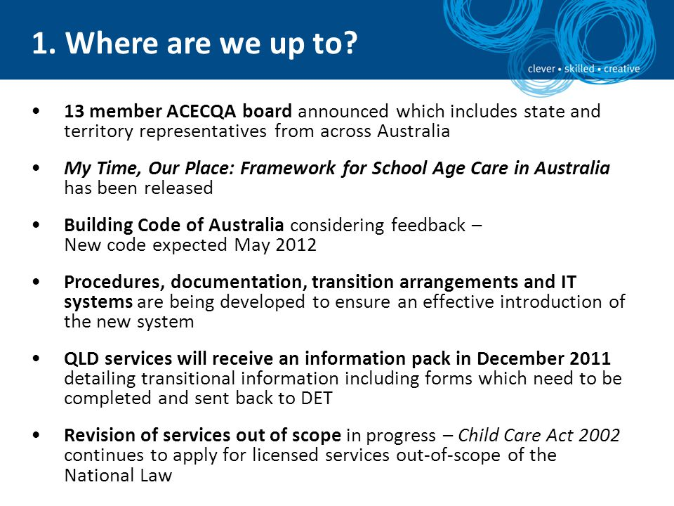 1. Where are we up to 13 member ACECQA board announced which includes state and territory representatives from across Australia.