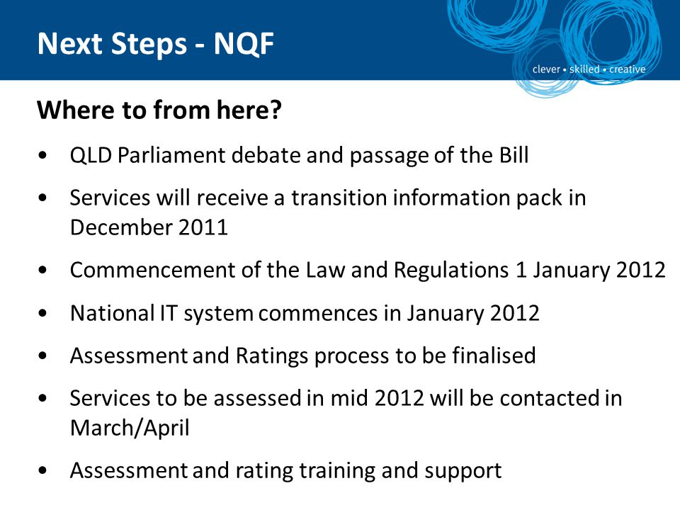 Next Steps - NQF Where to from here