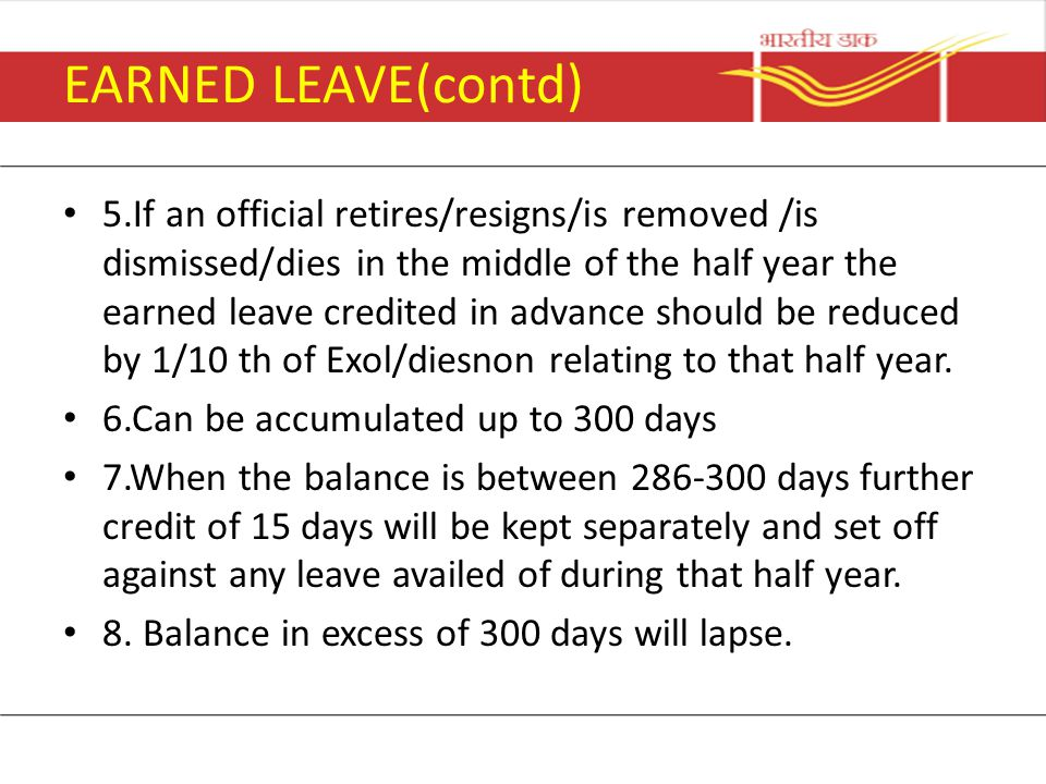 EARNED LEAVE(contd)