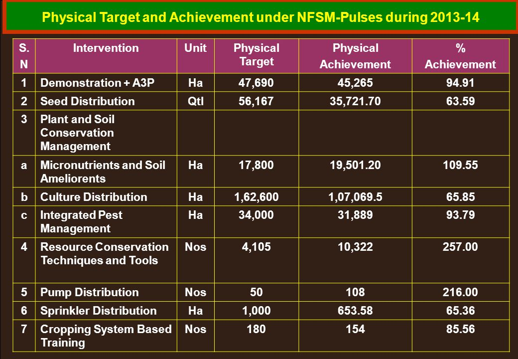Physical Target and Achievement under NFSM-Pulses during 2013-14