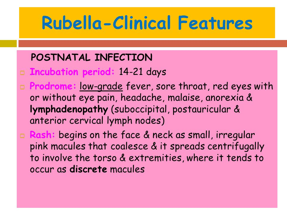 Rubella-Clinical Features