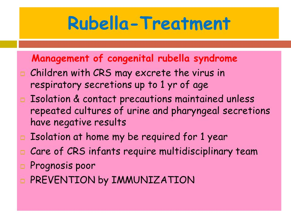 Rubella-Treatment Management of congenital rubella syndrome