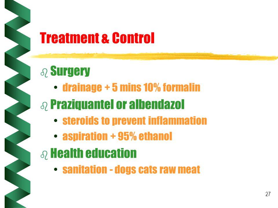 Treatment & Control Surgery Praziquantel or albendazol