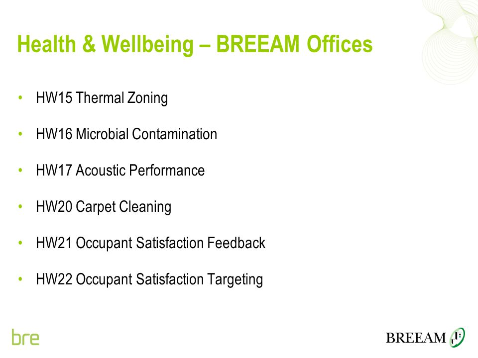 Health & Wellbeing – BREEAM Offices