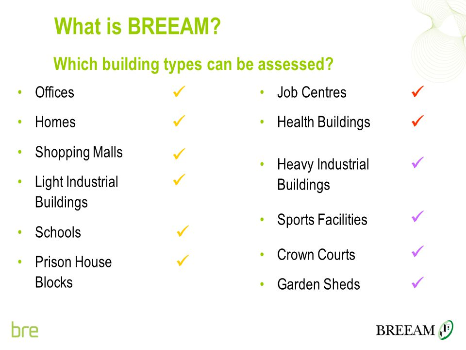 Which building types can be assessed