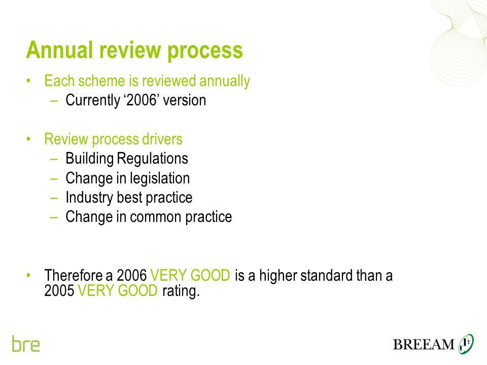 Annual review process Each scheme is reviewed annually